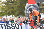 Enzo Leijnse of The Netherlands powers off the start ramp during the Men Junior Individual Time Trial of the UCI World Championships 2019 running 27.6km from Harrogate to Harrogate, England. 23rd September 2019.<br /> Picture: Simon Wilkinson/SWPix.com | Cyclefile<br /> <br /> All photos usage must carry mandatory copyright credit (© Cyclefile | Simon Wilkinson/SWPix.com)