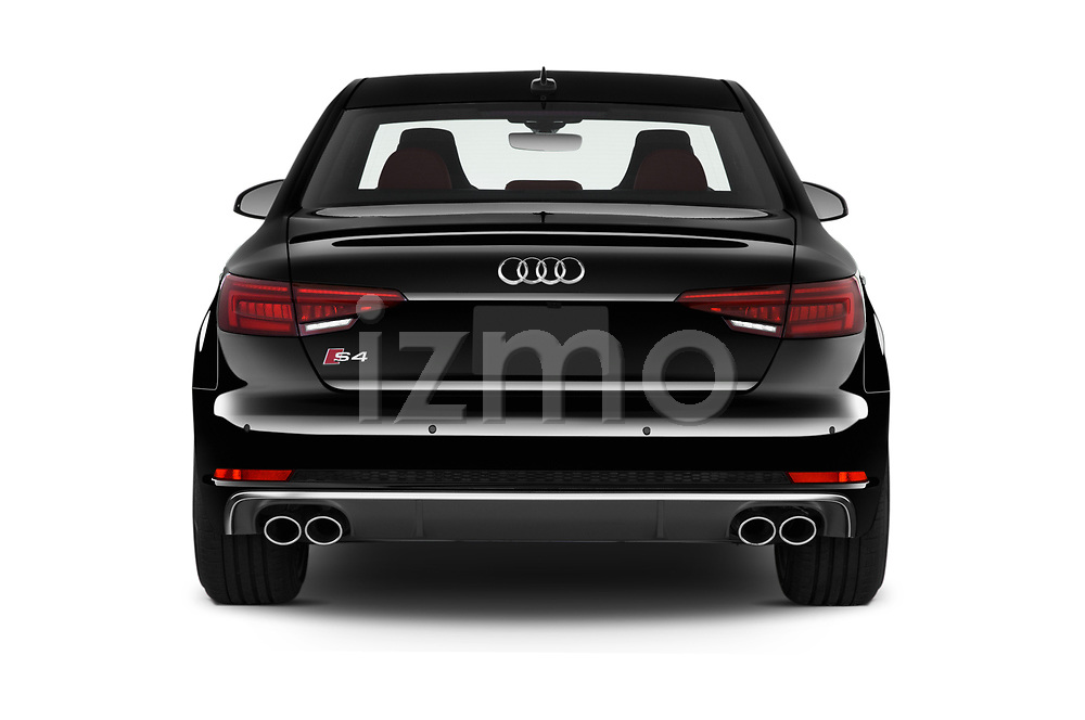 Straight rear view of 2019 Audi S4 Premium-Plus 4 Door Sedan Rear View  stock images