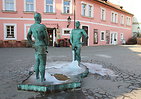 The 'Peeing' Statues, 2 bronzes by artist David Cerny , Prague, Czech Republic on February 28th to March 3rd 2018<br /> CAP/ROS<br /> &copy;ROS/Capital Pictures