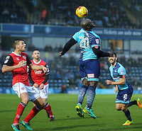 Adebayo Akinfenwa of Wycombe Wanderers wins the ball during the Sky Bet League 2 match between Wycombe Wanderers and Morecambe at Adams Park, High Wycombe, England on 12 November 2016. Photo by David Horn.