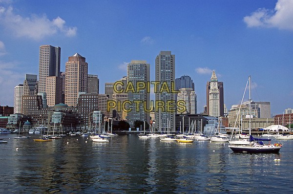 Boston City Skyline from the harbour, Boston, Massachusetts, New England, USA