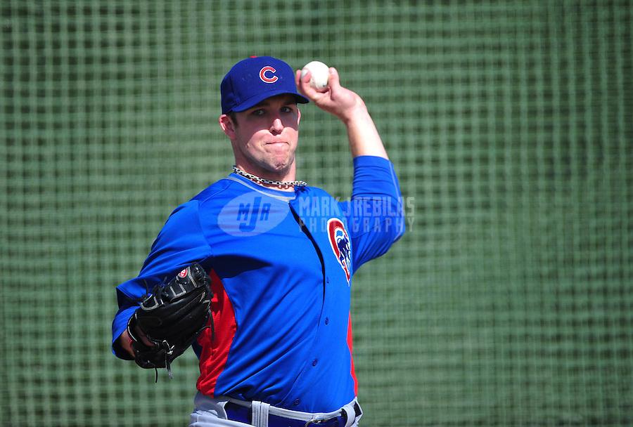 Feb. 29, 2012; Mesa, AZ, USA; Chicago Cubs pitcher Paul Maholm during spring training workouts at Fitch Park.  Mandatory Credit: Mark J. Rebilas-.