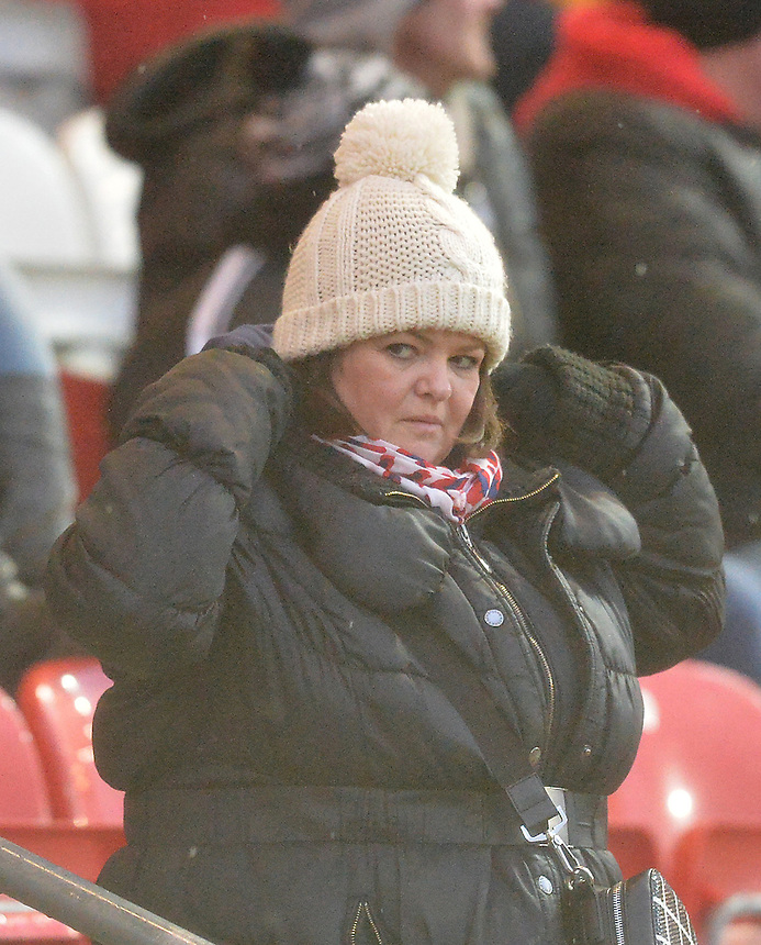 Fans<br /> <br /> Photographer Dave Howarth/CameraSport<br /> <br /> Football - The Football League Sky Bet League One - Fleetwood Town v Shrewsbury Town - Sunday 7th February 2016 - Highbury Stadium - Fleetwood  <br /> <br /> &copy; CameraSport - 43 Linden Ave. Countesthorpe. Leicester. England. LE8 5PG - Tel: +44 (0) 116 277 4147 - admin@camerasport.com - www.camerasport.com