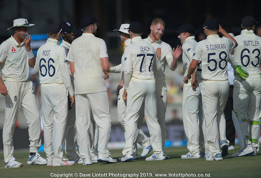 England's Ben Stokes celebrates dismissing NZ's Ross Taylor during day two of the international cricket 1st test match between NZ Black Caps and England at Bay Oval in Mount Maunganui, New Zealand on Friday, 22 November 2019. Photo: Dave Lintott / lintottphoto.co.nz