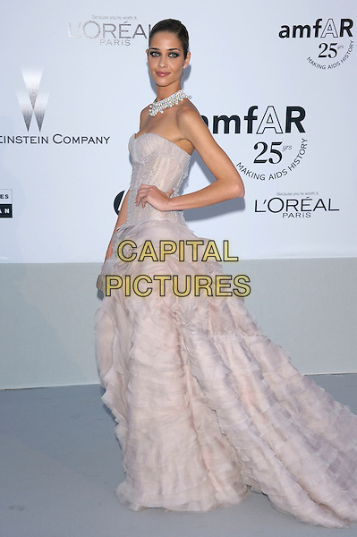 ANA BEATRIZ BARROS.amfAR's Cinema Against AIDS Gala during the 64th Annual Cannes Film Festival at Hotel Du Cap, Antibes, France, May 19th, 2011..full length strapless pink beige ruffle dress gown ruffles maxi train corset hand on hip side.CAP/PL.©Phil Loftus/Capital Pictures