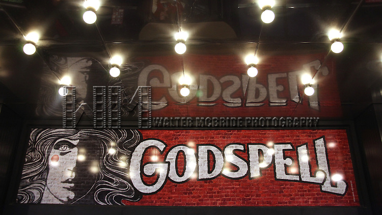 Theatre Marquee for the Opening Night Performance of the Broadway Revival of 'Godspell' at Circle in the Square Theatre in New York City.