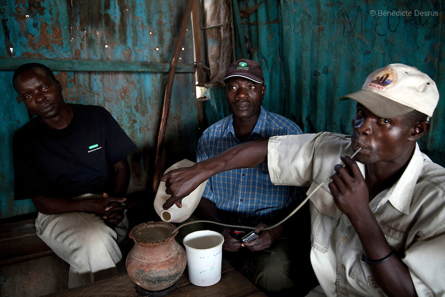Three Kenyans men drink Busaa, a traditional fermented beer, from a common pot using long straws - in a crowded busaa club at midday in a Nairobi slum on March 27, 2013. Busaa is made by crudely fermenting maize, millet, sorghum or molasses. At Kshs 35 per liter it is much cheaper than a Kshs120 half-liter bottle of commercial beer. The local brew was legalised in 2010 and since then busaa clubs have become increasingly popular. Drinking is on the rise in Kenya, especially among young people. Photo: Benedicte Desrus