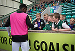 Recent signing Islam Feruz signing autographs for young home fans during the second-half at Easter Road stadium during the Scottish Championship match between Hibernian and visitors Alloa Athletic. The home team won the game by 3-0, watched by a crowd of 7,774. It was the Edinburgh club's second season in the second tier of Scottish football following their relegation from the Premiership in 2013-14.