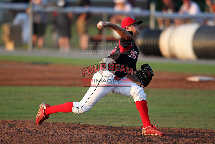 Batavia Muckdogs pitcher Travis Lawler (20) delivers a pitch during a game vs. the Lowell Spinners at Dwyer Stadium in Batavia, New York July 16, 2010.   Batavia defeated Lowell 5-4 with a walk off RBI single in the bottom of the 9th inning.  Photo By Mike Janes/Four Seam Images