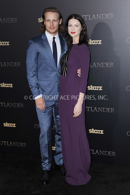 WWW.ACEPIXS.COM<br /> April 1, 2015 New York City<br /> <br /> Sam Heughan and Caitriona Balfe attending STARZ Original series &ldquo;Outlander&rdquo; celebration of &ldquo;Droughtlander&rdquo; at a special premiere screening of &ldquo;The Reckoning&rdquo; at The Ziegfeld Theater on  April 1, 2015 in New York City.<br /> <br /> Please byline: Kristin Callahan/AcePictures<br /> <br /> ACEPIXS.COM<br /> <br /> Tel: (646) 769 0430<br /> e-mail: info@acepixs.com<br /> web: http://www.acepixs.com