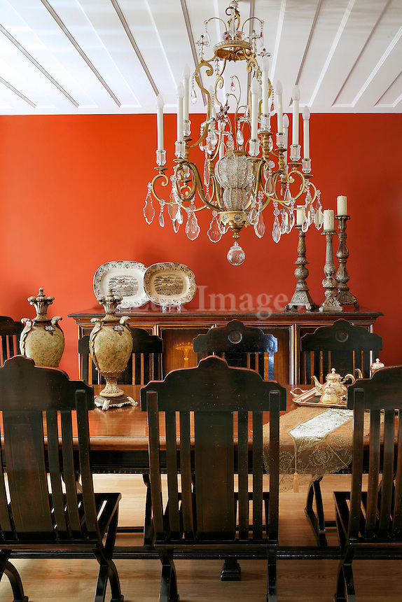 aristocratic dining room with vintage decorations