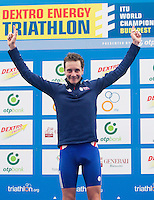 11 SEP 2010 - BUDAPEST, HUN - Alistair Brownlee celebrates winning the 2010 Elite Mens ITU World Championship Series Triathlon final (PHOTO (C) NIGEL FARROW)