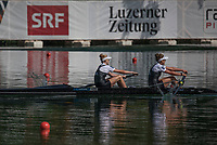 Lucerne, SWITZERLAND, 15th July 2018, Sunday Women's Pair A Final, Gold Medalist, New Zealand,  NZL W2-, Bow, <br /> &quot;Grace PRENDERGAST&quot;, and &quot;Kerri GOWLER&quot;, FISA World Cup III Lake Rotsee, &copy; Peter SPURRIER,