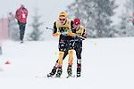 HOLMENKOLLEN, OSLO, NORWAY - March 16: (L-R) Fabian Riessle of Germany (GER) and Pavel Churavy of Czech Republic (CZE) during the cross country 15 km (2 x 7.5 km) competition at the FIS Nordic Combined World Cup on March 16, 2013 in Oslo, Norway. (Photo by Dirk Markgraf)