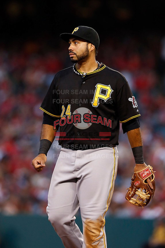 Pedro Alvarez #24 of the Pittsburgh Pirates during a game against the Los Angeles Angels at Angel Stadium on June 21, 2013 in Anaheim, California. (Larry Goren/Four Seam Images)