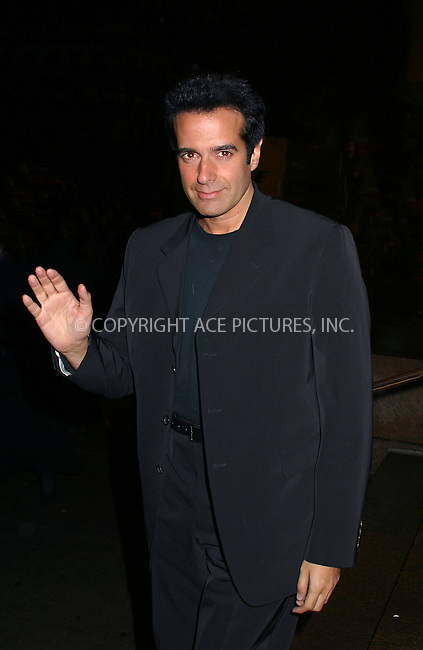 "Magician David Copperfield attending a party to celebrate Louis Vuitton's debut of a new watch line ""Tambour."" New York, October 30, 2002. Please byline: Alecsey Boldeskul/NY Photo Press.   ..*PAY-PER-USE*      ....NY Photo Press:  ..phone (646) 267-6913;   ..e-mail: info@nyphotopress.com"