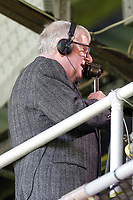 John Motson seen in the gantry for the last time during the EPL - Premier League match between Crystal Palace and West Bromwich Albion at Selhurst Park, London, England on 13 May 2018. Photo by Carlton Myrie / PRiME Media Images.