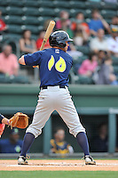 Outfielder Kevin Kaczmarski (10) of the Columbia Fireflies bats in a game against the Greenville Drive on Thursday, April 21, 2016, at Fluor Field at the West End in Greenville, South Carolina. Columbia won, 13-9. (Tom Priddy/Four Seam Images)