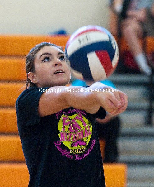 P:YMOUTH  CT--- -090716JS07- Terryville's Alycia Calabrese settles the ball during their pre-season volleyball  match up with Wolcott Wednesday at Terryville High School in Plymouth. <br /> Jim Shannon Republican American