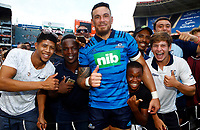 DURBAN, SOUTH AFRICA - FEBRUARY 23: Sonny Bill Williams of the Blues with the fans during the Super Rugby match between Cell C Sharks and Blues at Jonsson Kings Park on February 23, 2019 in Durban, South Africa. Photo: Steve Haag / stevehaagsports.com