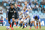 Real Sociedad's Inigo Martinez (c) and Yuri Berchiche (r) and Real Madrid's Alvaro Morata during La Liga match. August 21,2016. (ALTERPHOTOS/Acero)