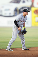 Delmarva Shorebirds shortstop Jared Breen (15) on defense against the Kannapolis Intimidators at CMC-NorthEast Stadium on July 2, 2014 in Kannapolis, North Carolina.  The Intimidators defeated the Shorebirds 6-4. (Brian Westerholt/Four Seam Images)