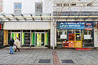 Pictured: Empty shops on Vaughan Street in the LLanelli town centre. Wednesday 09 March 2018<br /> Re: The effect that the Scarlets RFC has had in the town of Llanelli in Carmarthenshire and the west Wales region.