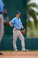 Tampa Bay Rays shortstop Matt Duffy (5) in the field while on rehab assignment during an Instructional League game against the Baltimore Orioles on October 2, 2017 at Ed Smith Stadium in Sarasota, Florida.  (Mike Janes/Four Seam Images)