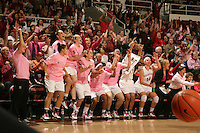STANFORD, CA - FEBRUARY 14:  (L-R) Guard JJ Hones #10, guard Grace Mashore #1, forward Ashley Cimino #24, guard Hannah Donaghe #20, forward Michelle Harrison #5, guard Melanie Murphy #0, forward Sarah Boothe #42, guard Rosalyn Gold-Onwude #21, forward Kayla Pedersen #14, assistant coach Kate Paye, head coach Tara VanDerveer, and associate head coach Amy Tucker of the Stanford Cardinal during Stanford's 58-41 win against the California Golden Bears on February 14, 2009 at Maples Pavilion in Stanford, California.