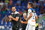 Getafe CF's coach Jose Bordalas (l) and Atalanta BC's Rafael Toloi during friendly match. August 10,2019. (ALTERPHOTOS/Acero)