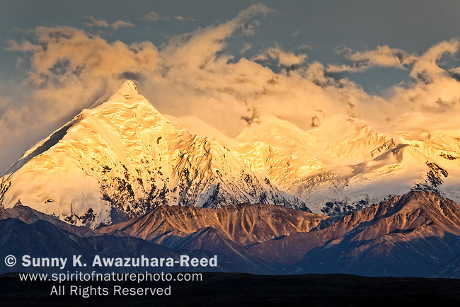 Sunset glow on Mt. Brooks summit, Denali National Park & Preserve, Interior Alaska, Summer.