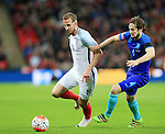 England's Harry Kane tussles with Daley Blind of the Netherland's during the International friendly match at Wembley.  Photo credit should read: David Klein/Sportimage