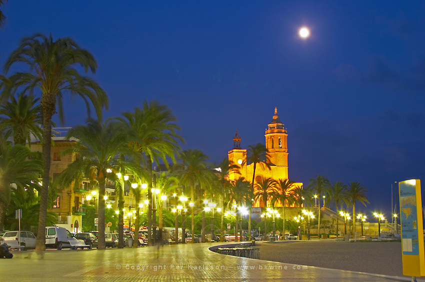 San Barthomieu i Santa Tecla church. Beach. At night. The coast walk. Sitges, Catalonia, Spain