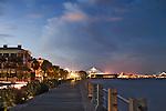 Charleston South Carolina Battery after sunset night time Ravenel Bridge