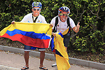 Colombian fans at the Cat 3 climb of Cote d'Eschdorf during Stage 3 of the 104th edition of the Tour de France 2017, running 212.5km from Verviers, Belgium to Longwy, France. 3rd July 2017.<br /> Picture: Eoin Clarke | Cyclefile<br /> <br /> All photos usage must carry mandatory copyright credit (&copy; Cyclefile | Eoin Clarke)