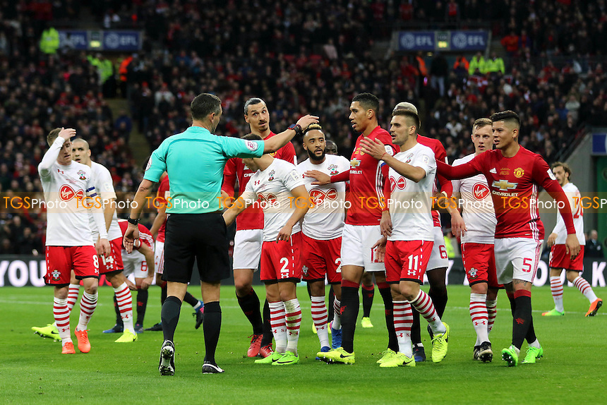 Tempers flare in the first half during Manchester United vs Southampton, EFL Cup Final Football at Wembley Stadium on 26th February 2017