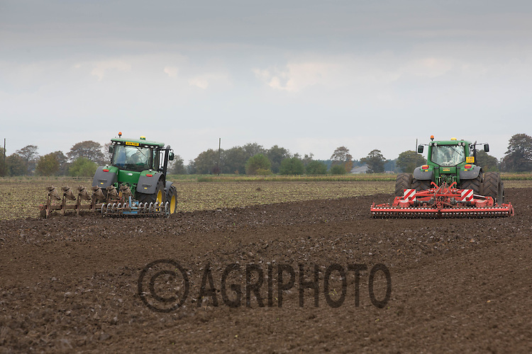 Power harrowing and ploughing sugar beet land before drilling Winter Wheat<br /> &copy;Tim Scrivener Photographer 07850 303986<br /> ....Covering Agriculture In The UK....