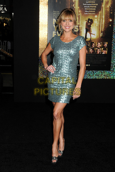 """Christine Lakin.The World Premiere of """"New Year's Eve' held at The Grauman's Chinese Theatre in Hollywood, California, USA..December 5th, 2011.full length green sparkly dress hand on hip.CAP/ADM/BP.©Byron Purvis/AdMedia/Capital Pictures."""