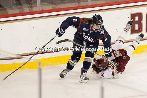 Rebecca Lindblad (UConn - 8), Kenzie Kent (BC - 12) - The Boston College Eagles defeated the visiting UConn Huskies 4-0 on Friday, October 30, 2015, at Kelley Rink in Conte Forum in Chestnut Hill, Massachusetts.