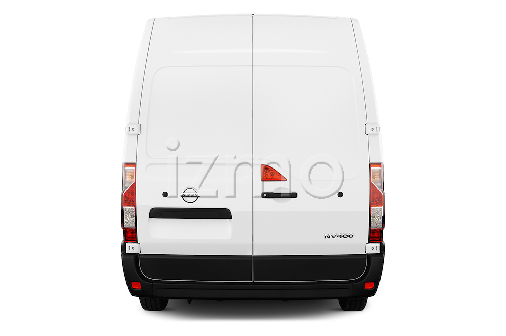 Straight rear view of 2016 Nissan NV400 Acenta 4 Door Cargo Van Rear View  stock images