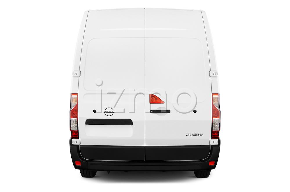 Straight rear view of 2016 Nissan NV400 Acenta 4 Door Cargo Van Rear View  stock images