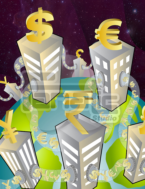 Representation of currency symbols on top of buildings connected with tubes