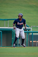 Atlanta Braves Jeremy Fernandez (27) leads off third base during a Florida Instructional League game against the Canadian Junior National Team on October 9, 2018 at the ESPN Wide World of Sports Complex in Orlando, Florida.  (Mike Janes/Four Seam Images)