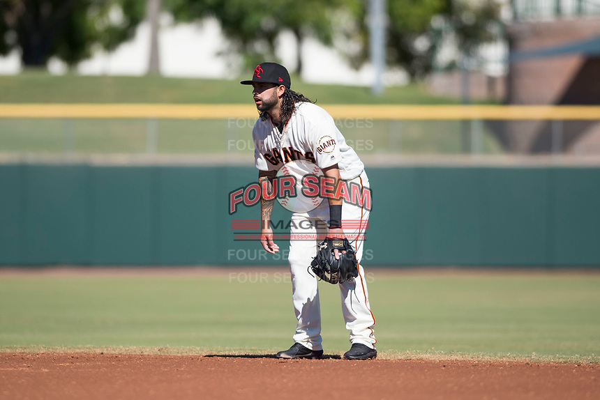 Scottsdale Scorpions second baseman C.J. Hinojosa (8), of the San Francisco Giants organization, during an Arizona Fall League game against the Mesa Solar Sox at Scottsdale Stadium on November 2, 2018 in Scottsdale, Arizona. The shortened seven-inning game ended in a 1-1 tie. (Zachary Lucy/Four Seam Images)