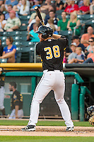 Stephen McGee (38) of the Salt Lake Bees at bat against the Tacoma Rainiers in Pacific Coast League action at Smith's Ballpark on August 31, 2015 in Salt Lake City, Utah. Salt Lake defeated Tacoma 6-5.  (Stephen Smith/Four Seam Images)