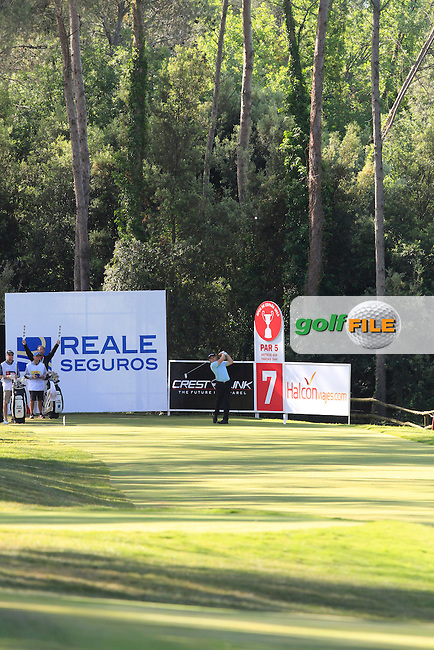 Eddie pepperell (ENG) on the 7th tee during Round 3 of the Open de Espana  in Club de Golf el Prat, Barcelona on Saturday 16th May 2015.<br /> Picture:  Thos Caffrey / www.golffile.ie