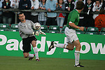 Dublin Ireland. Irelands No 1 Shay Given passing out the ball during the friendly soccer international at Lansdowne road Dublin Ireland 24/5/06.Photo AFP/NEWSFILE/FRAN CAFFREY..(Photo credit should read AFP PHOTO/FRAN CAFFREY/NEWSFILE)...This Picture has been sent you under the condtions enclosed by:.Newsfile Ltd..the Studio,.Millmount Abbey,.Drogheda,.Co Meath..Ireland..Tel: +353(0)41-9871240.Fax: +353(0)41-9871260.GSM: +353(0)86-2500958.email: pictures@newsfile.ie.www.newsfile.ie.FTP: 193.120.102.198..This picture is from Fran Caffrey@newsfile.ie