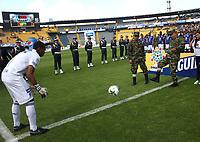 BOGOTÁ- COLOMBIA,06-10-2019:la División Mayor del Fútbol Colombiano DIMAYOR, rendio un sentido reconocimiento al Ejército Nacional en conmemoración a los 209 años de historia. Acción de juego entre los equipos  Jaguares de Córdoba y Once Caldas durante partido por la fecha 15 de la Liga Águila II 2019 jugado en el estadio Municipal Jaraguay de Montería . /Acción de juego entre los equipos Millonarios y Patriotas Boyacá durante partido por la fecha 15 de la Liga Águila II 2019 jugado en el estadio Nemesio Camacho El Campín de la ciudad de Bogotá. /Action game between taems Millonarios and Patriotas Boyaca during the  match for the date 15 of the Liga Aguila II 2019 played at the Nemesio Camacho El Campin stadium in Bogota city. Photo: VizzorImage / Felipe Caicedo / Staff