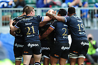 Bath Rugby players congratulate team-mate Semesa Rokoduguni after his second half try. European Rugby Challenge Cup Quarter Final, between Bath Rugby and CA Brive on April 1, 2017 at the Recreation Ground in Bath, England. Photo by: Patrick Khachfe / Onside Images