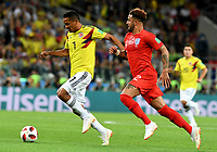 MOSCU - RUSIA, 03-07-2018: Carlos BACCA (Izq) jugador de Colombia disputa el balón con Kyle WALKER (Der) jugador de Inglaterra durante partido de octavos de final por la Copa Mundial de la FIFA Rusia 2018 jugado en el estadio del Spartak en Moscú, Rusia. / Carlos BACCA (L) player of Colombia fights the ball with Kyle WALKER (R) player of England during match of the round of 16 for the FIFA World Cup Russia 2018 played at Spartak stadium in Moscow, Russia. Photo: VizzorImage / Julian Medina / Cont